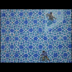 "Antonio Rosario, ""Bicycles on Blue Pattern"""